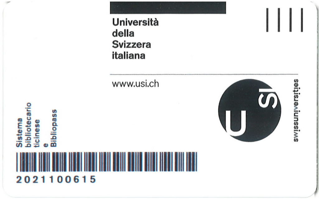 Legitimationskarte Università della svizzera italiana. Recto