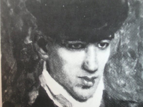 Black-and-white oil portrait of the 21 year old Bulgarian artist Julius Mordecai Pincas known as Pascin