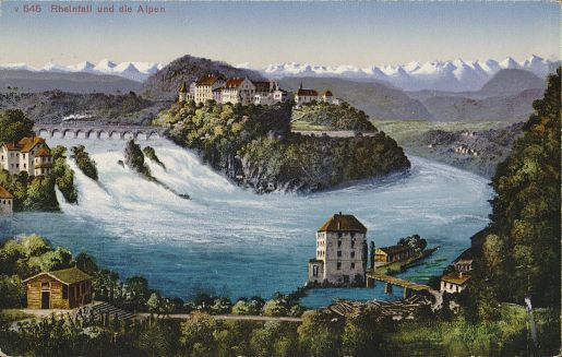 The Rhine Falls and the Alps, Edition Photoglob, ca. 1924, Zentralbibliothek Zürich
