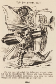 Man wearing armour on his legs and feet, with a giant pillow tied to his back. He carries a cannon and sabre in his right hand, and a mattress serving as a shield in his left. A giant snail sits on his head, and his nose is extended into a kind of trumpet designed to detect anarchists
