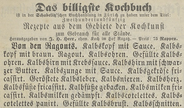 "In addition to the book title ""Das billigste Kochbuch"" and further details from the title page, the advertisement informs readers that the new publication is available from the Schablitz'sche Buchhaltung bookshop in Zurich, price 75 centimes. It also reproduces the full table of contents."